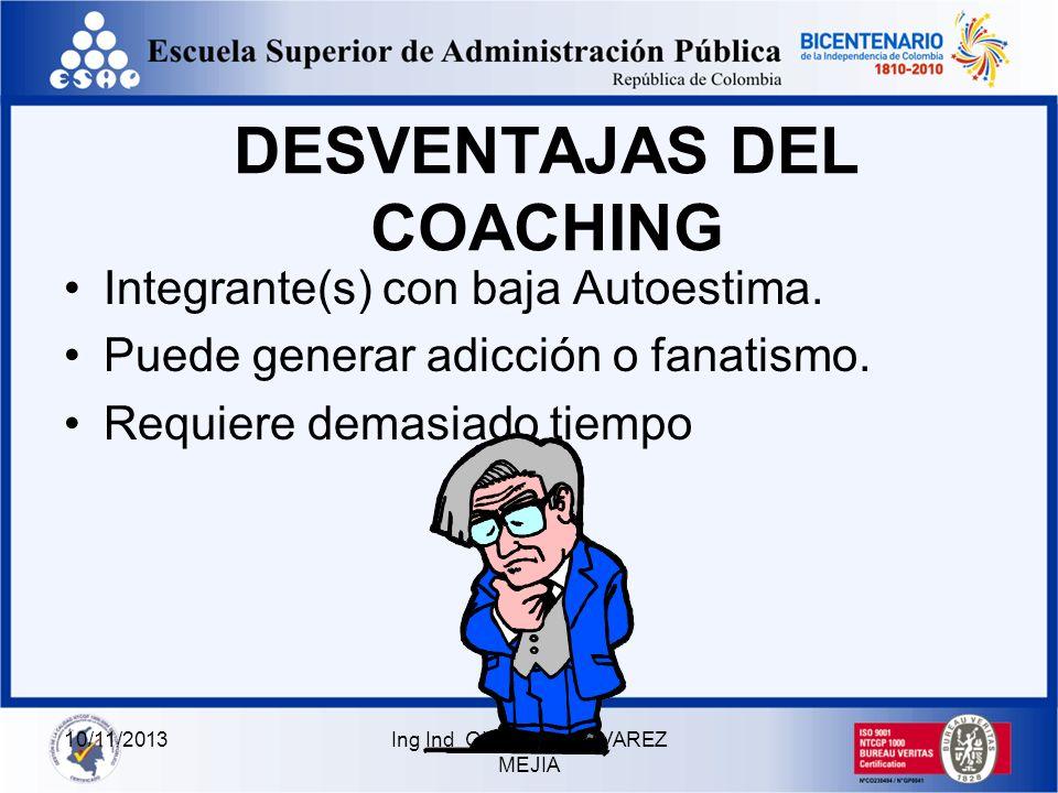 10/11/2013Ing Ind GILBERTO ALVAREZ MEJIA VENTAJAS DEL COACHING Concretar metas y los objetivos Identificar propósitos e Incitar a la acción Genera emp