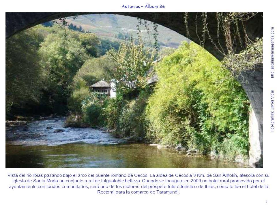 7 Asturias - Álbum 36 Fotografías: Javier Vidal http: asturiasenimagenes.com Vista del río Ibias pasando bajo el arco del puente romano de Cecos. La a