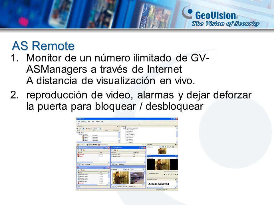 AS Remote 1.Monitor de un número ilimitado de GV- ASManagers a través de Internet A distancia de visualización en vivo. 2.reproducción de video, alarm