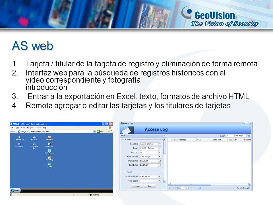 AS web 1.Tarjeta / titular de la tarjeta de registro y eliminación de forma remota 2.Interfaz web para la búsqueda de registros históricos con el vide