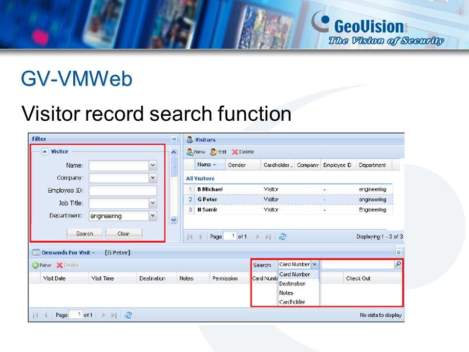 GV-VMWeb Visitor record search function