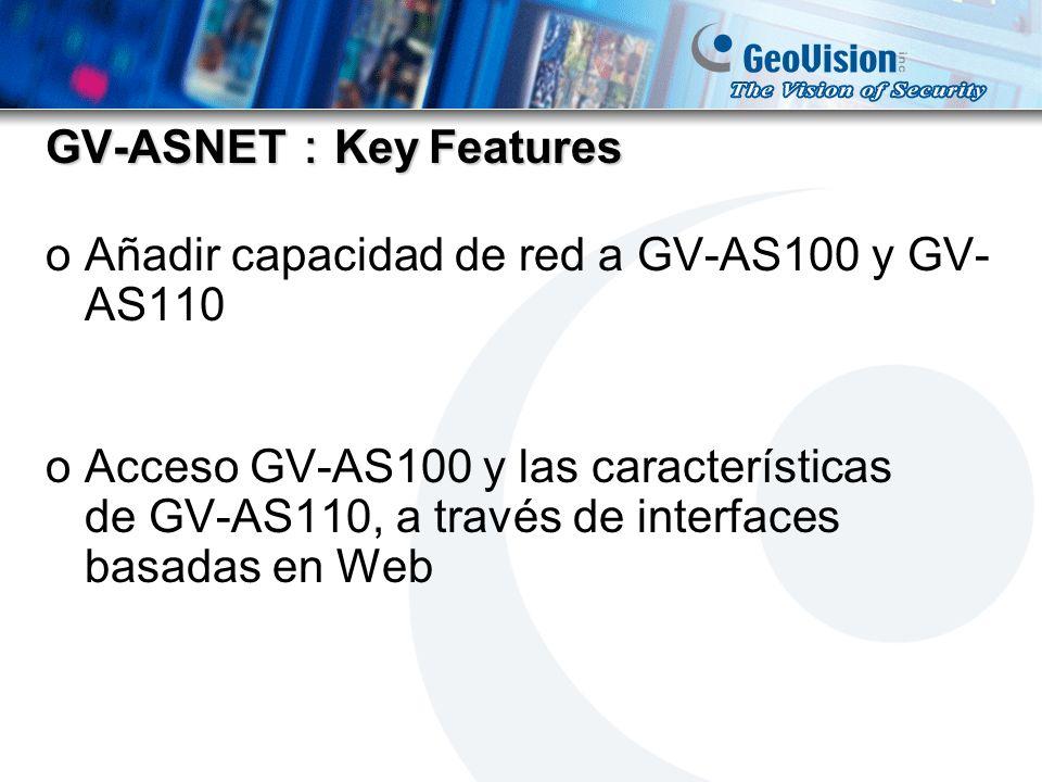 GV-ASNET Key Features oAñadir capacidad de red a GV-AS100 y GV- AS110 oAcceso GV-AS100 y las características de GV-AS110, a través de interfaces basad