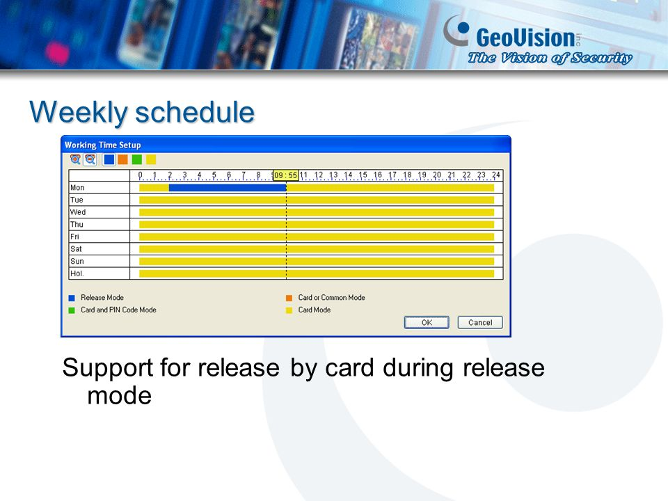 Weekly schedule Support for release by card during release mode
