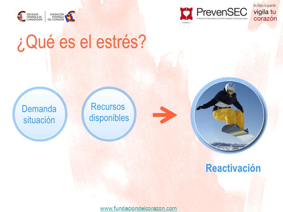 www.fundaciondelcorazon.com ¿Qué es el estrés? Reactivación Demanda situación Recursos disponibles