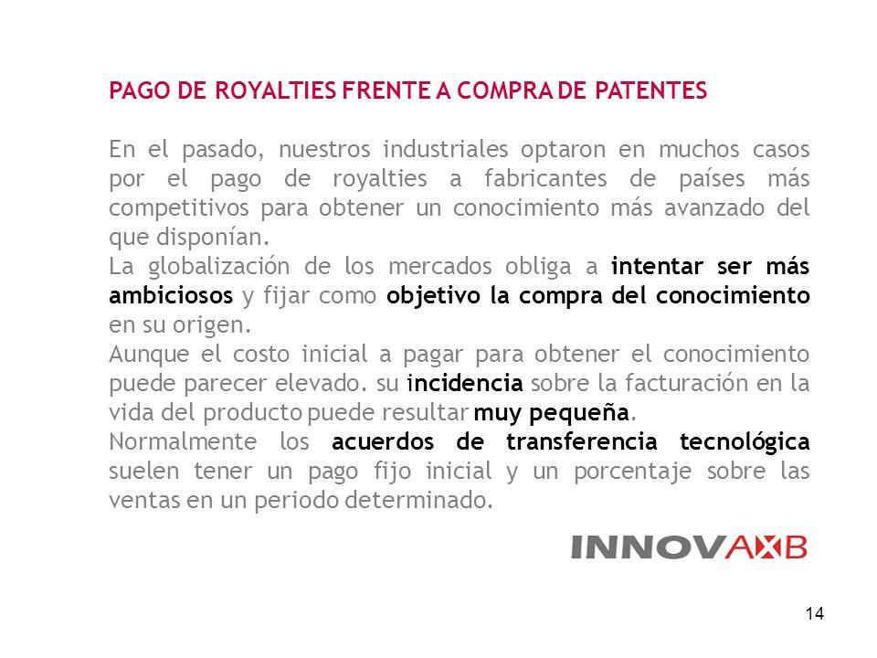 14 PAGO DE ROYALTIES FRENTE A COMPRA DE PATENTES En el pasado, nuestros industriales optaron en muchos casos por el pago de royalties a fabricantes de