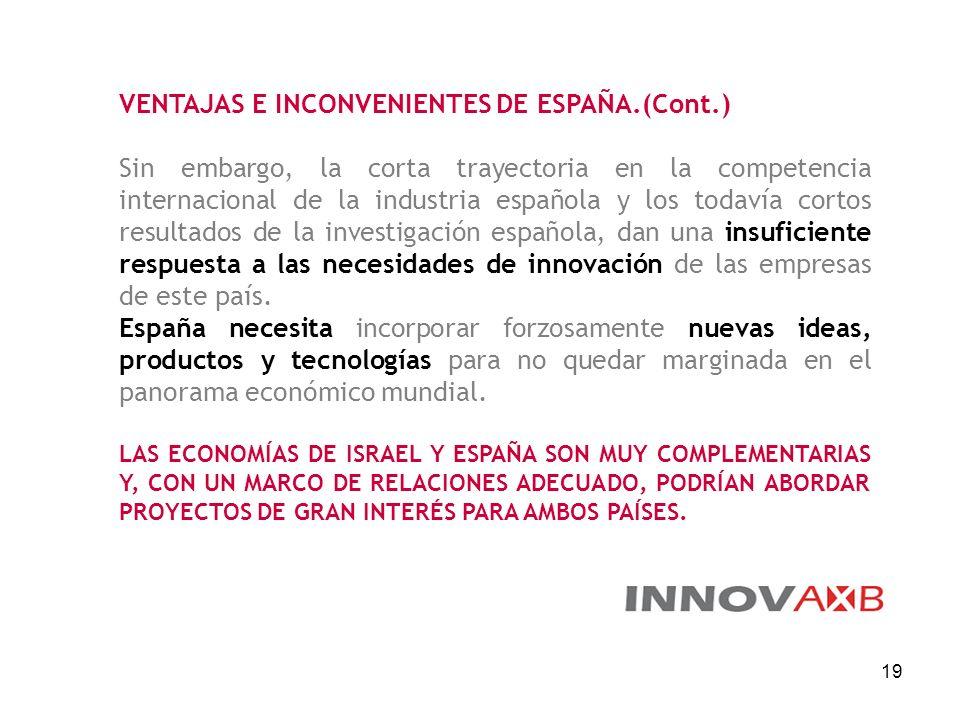19 VENTAJAS E INCONVENIENTES DE ESPAÑA.(Cont.) Sin embargo, la corta trayectoria en la competencia internacional de la industria española y los todaví