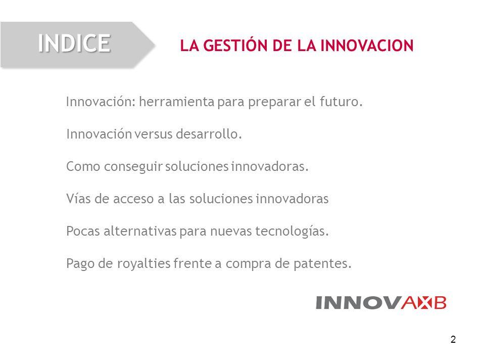 2 Innovación: herramienta para preparar el futuro. Innovación versus desarrollo. Como conseguir soluciones innovadoras. Vías de acceso a las solucione