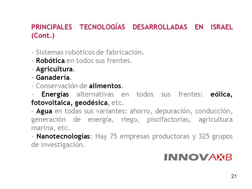 21 PRINCIPALES TECNOLOGÍAS DESARROLLADAS EN ISRAEL (Cont.) - Sistemas robóticos de fabricación. - Robótica en todos sus frentes. - Agricultura. - Gana