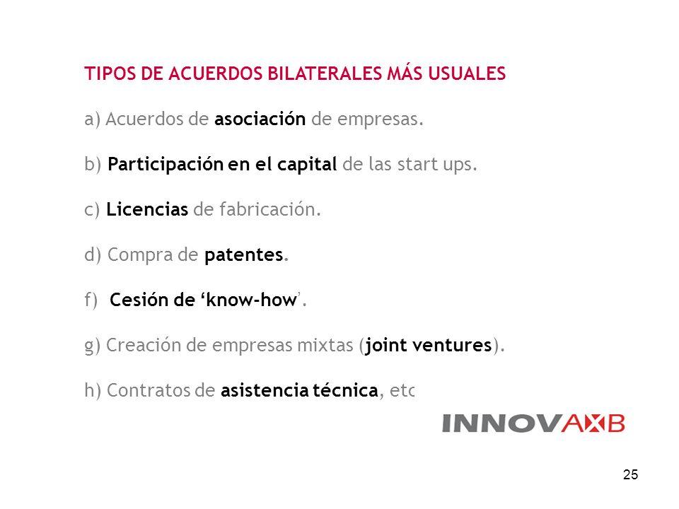 25 TIPOS DE ACUERDOS BILATERALES MÁS USUALES a) Acuerdos de asociación de empresas. b) Participación en el capital de las start ups. c) Licencias de f