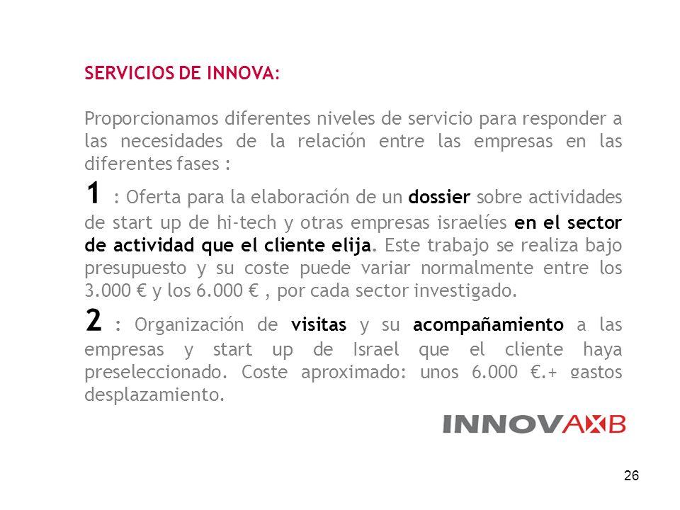 26 SERVICIOS DE INNOVA: Proporcionamos diferentes niveles de servicio para responder a las necesidades de la relación entre las empresas en las difere