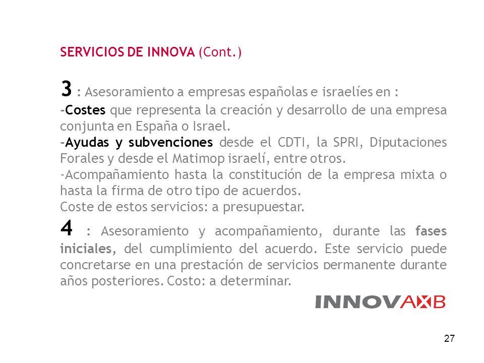 27 SERVICIOS DE INNOVA (Cont.) 3 : Asesoramiento a empresas españolas e israelíes en : -Costes que representa la creación y desarrollo de una empresa