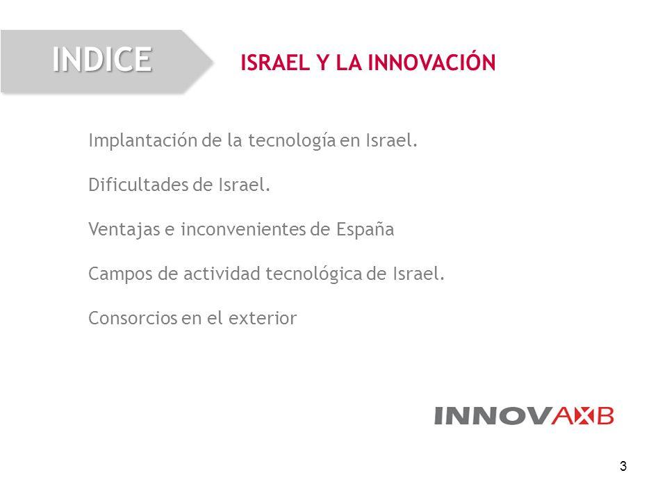 3 Implantación de la tecnología en Israel. Dificultades de Israel. Ventajas e inconvenientes de España Campos de actividad tecnológica de Israel. Cons