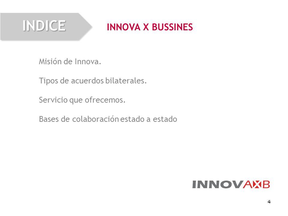 4 Misión de Innova. Tipos de acuerdos bilaterales. Servicio que ofrecemos. Bases de colaboración estado a estado INNOVA X BUSSINESINDICE