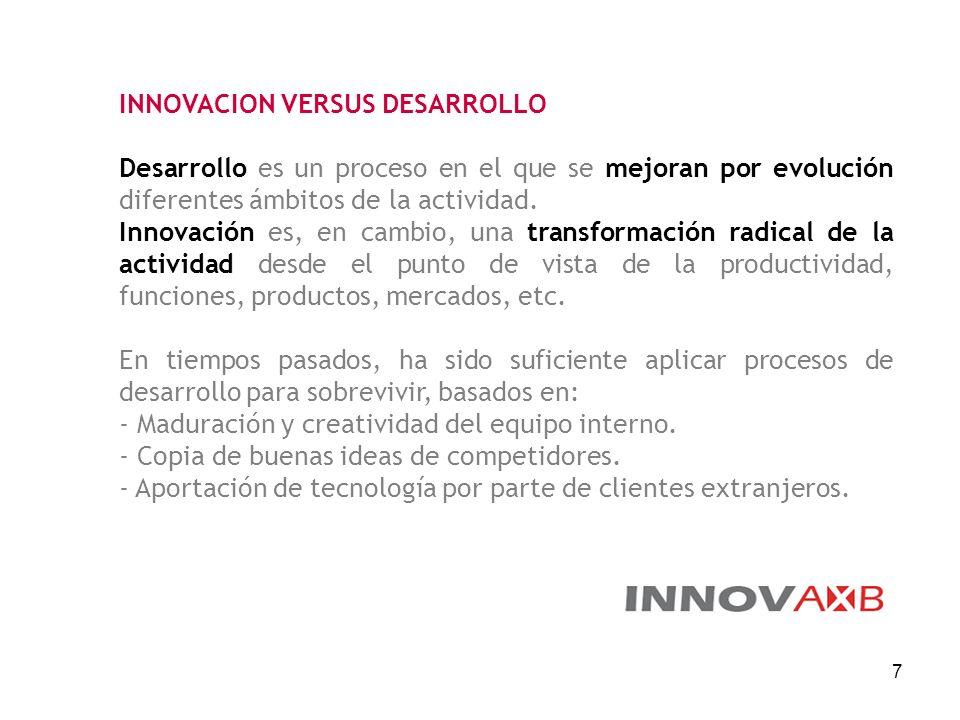 7 INNOVACION VERSUS DESARROLLO Desarrollo es un proceso en el que se mejoran por evolución diferentes ámbitos de la actividad. Innovación es, en cambi
