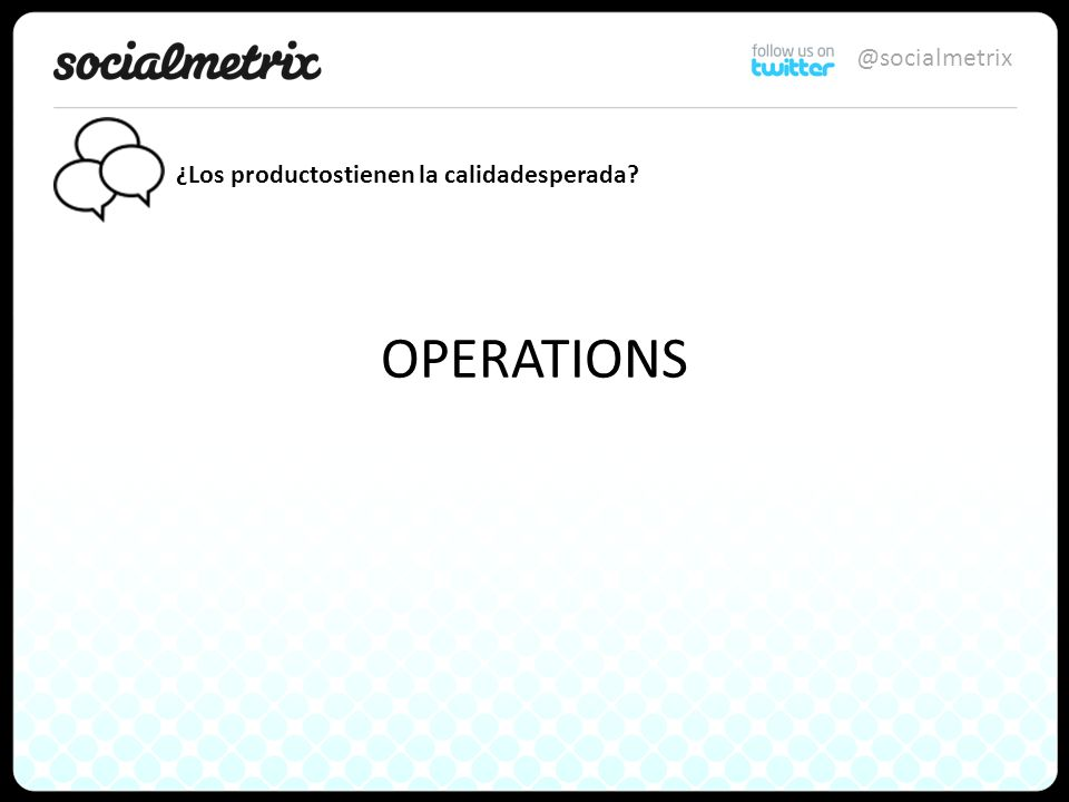 @socialmetrix OPERATIONS ¿Los productostienen la calidadesperada
