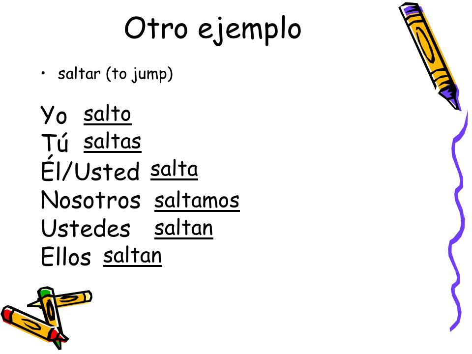 Otro ejemplo saltar (to jump) Yo Tú Él/Usted Nosotros Ustedes Ellos salto saltas salta saltamos saltan