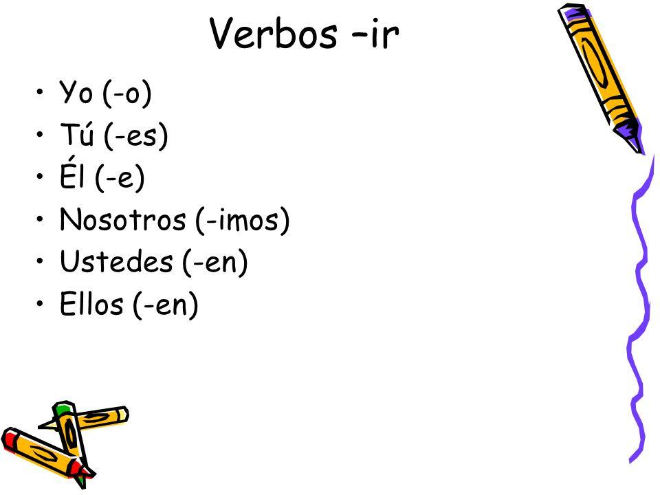 Verbos –ir Yo (-o) Tú (-es) Él (-e) Nosotros (-imos) Ustedes (-en) Ellos (-en)