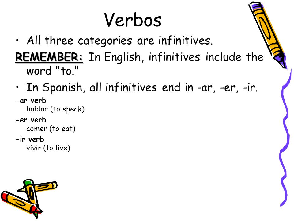 Verbos All three categories are infinitives. REMEMBER: REMEMBER: In English, infinitives include the word
