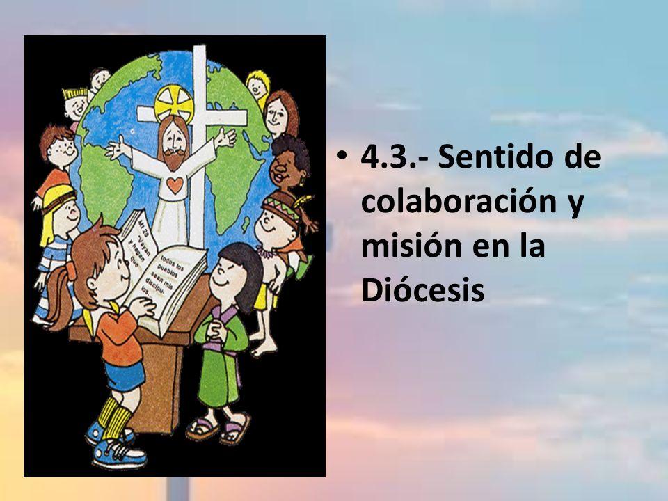 4.3 SENTIDO DE COLABORACIÓN Y MISIÓN EN LA DIÓCESIS Objetivo: Hacer ver la necesidad del trabajo de los laicos en sus Diócesis respectivas, para formar equipos y comunidades orientadas hacia el bien común.