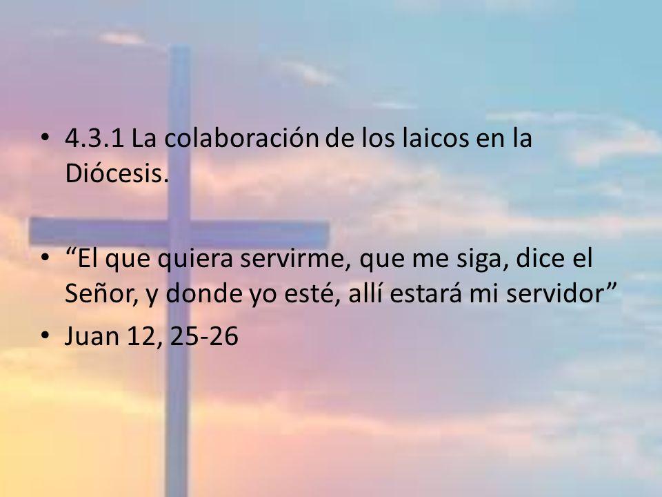 4.3.1 La colaboración de los laicos en la Diócesis. El que quiera servirme, que me siga, dice el Señor, y donde yo esté, allí estará mi servidor Juan