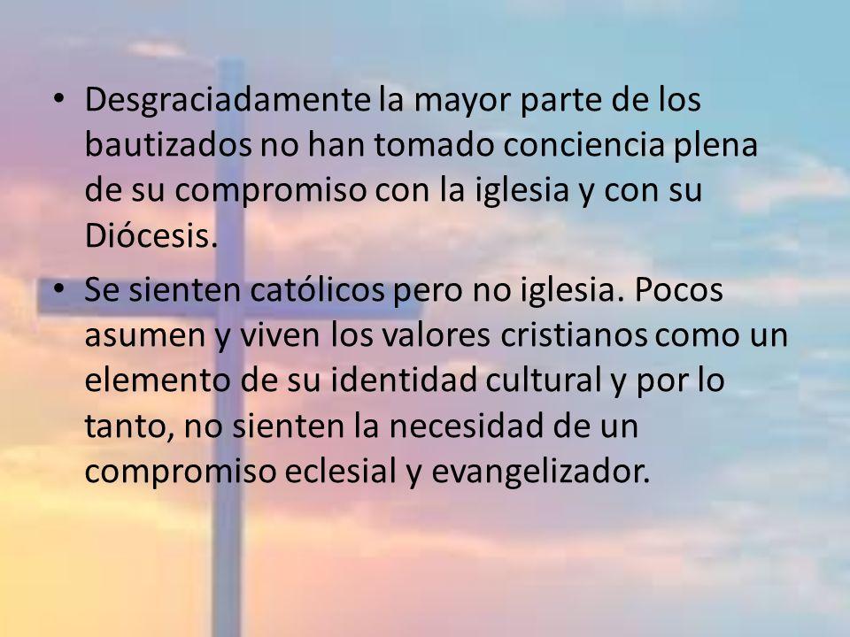 Desgraciadamente la mayor parte de los bautizados no han tomado conciencia plena de su compromiso con la iglesia y con su Diócesis. Se sienten católic