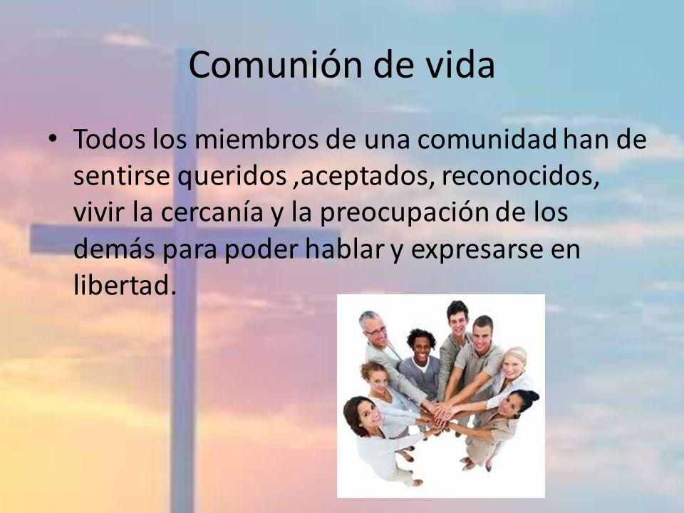 Comunión de vida Todos los miembros de una comunidad han de sentirse queridos,aceptados, reconocidos, vivir la cercanía y la preocupación de los demás