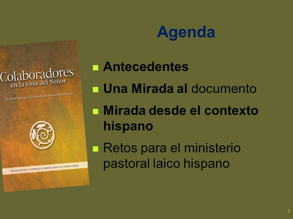 2 Agenda Antecedentes Una Mirada al documento Mirada desde el contexto hispano Retos para el ministerio pastoral laico hispano