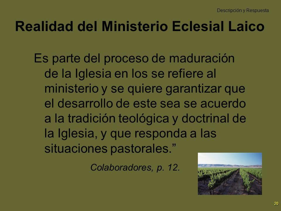 20 Realidad del Ministerio Eclesial Laico Es parte del proceso de maduración de la Iglesia en los se refiere al ministerio y se quiere garantizar que