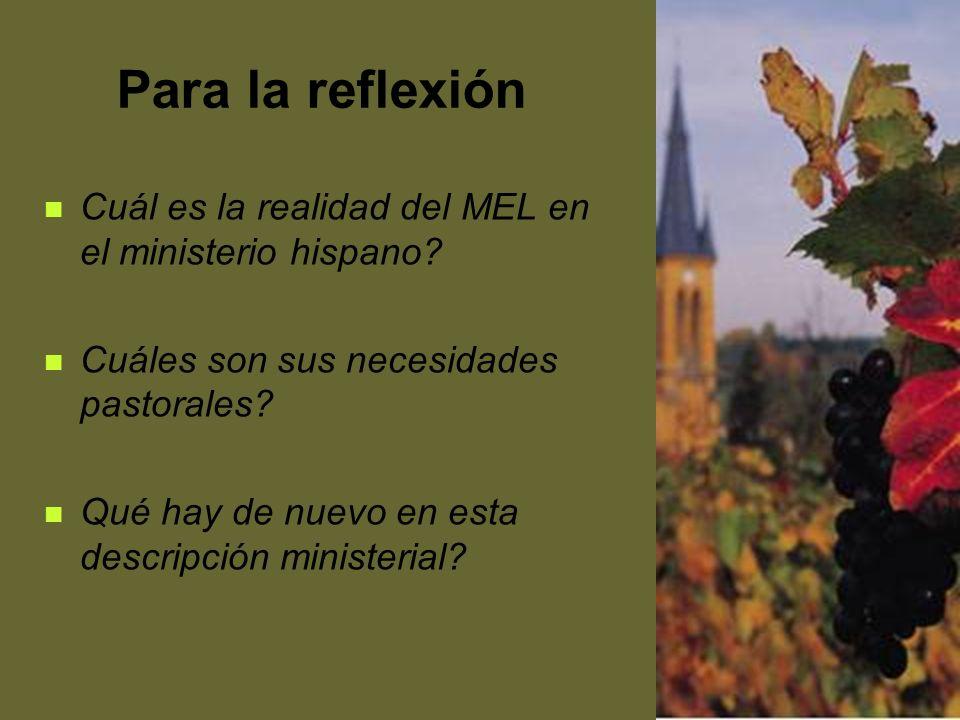 21 Para la reflexión Cuál es la realidad del MEL en el ministerio hispano? Cuáles son sus necesidades pastorales? Qué hay de nuevo en esta descripción