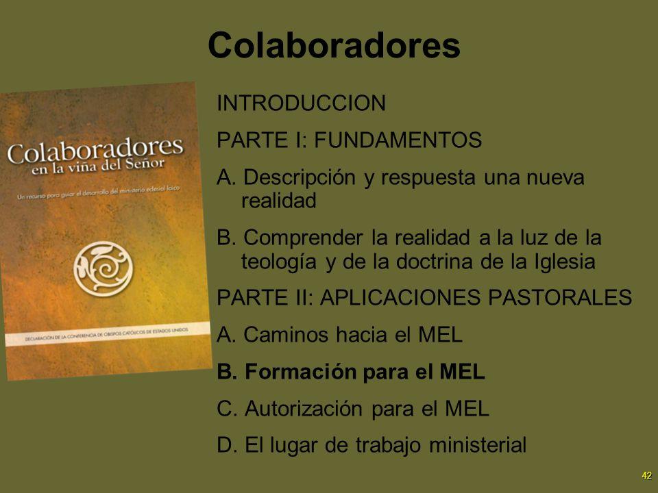 42 Colaboradores INTRODUCCION PARTE I: FUNDAMENTOS A. Descripción y respuesta una nueva realidad B. Comprender la realidad a la luz de la teología y d