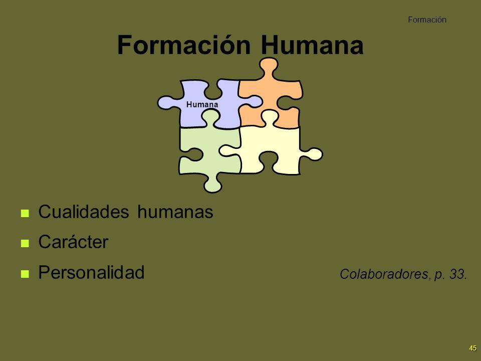 45 Formación Humana Cualidades humanas Carácter Personalidad Colaboradores, p. 33. Formación Humana