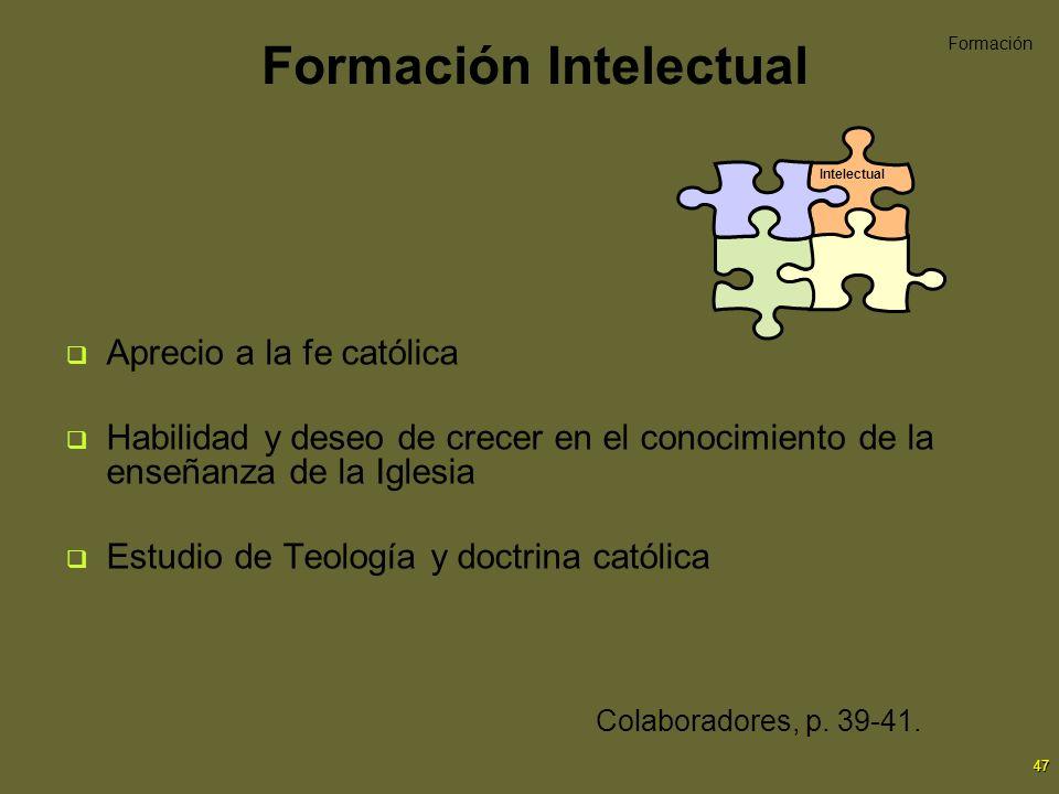47 Formación Intelectual Aprecio a la fe católica Habilidad y deseo de crecer en el conocimiento de la enseñanza de la Iglesia Estudio de Teología y d