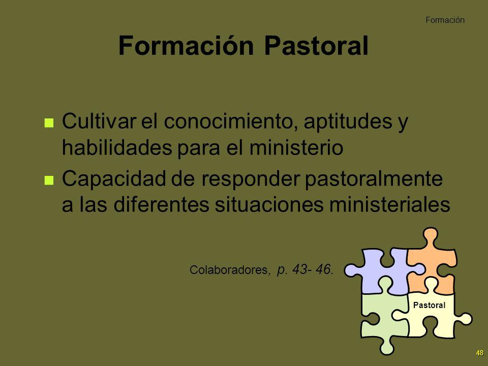 48 Formación Pastoral Cultivar el conocimiento, aptitudes y habilidades para el ministerio Capacidad de responder pastoralmente a las diferentes situa