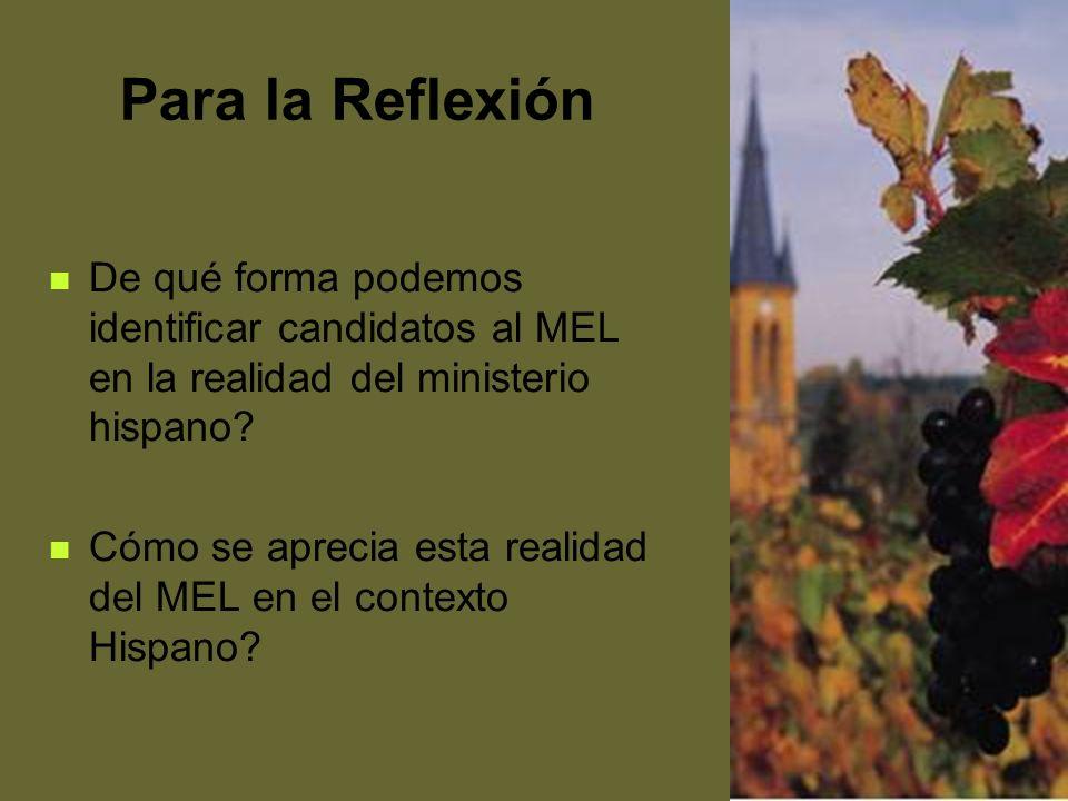 52 Para la Reflexión De qué forma podemos identificar candidatos al MEL en la realidad del ministerio hispano? Cómo se aprecia esta realidad del MEL e