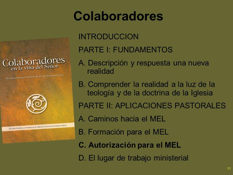 53 Colaboradores INTRODUCCION PARTE I: FUNDAMENTOS A. Descripción y respuesta una nueva realidad B. Comprender la realidad a la luz de la teología y d