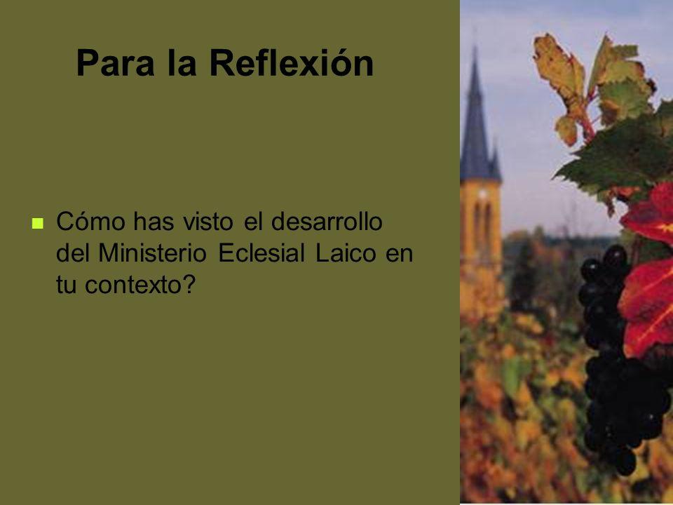 61 Para la Reflexión Cómo has visto el desarrollo del Ministerio Eclesial Laico en tu contexto?