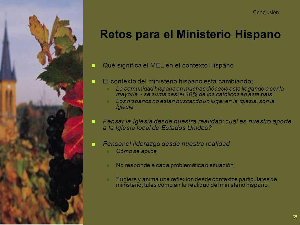65 Retos para el Ministerio Hispano Qué significa el MEL en el contexto Hispano El contexto del ministerio hispano esta cambiando; La comunidad hispan