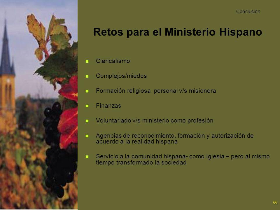 66 Retos para el Ministerio Hispano Clericalismo Complejos/miedos Formación religiosa personal v/s misionera Finanzas Voluntariado v/s ministerio como