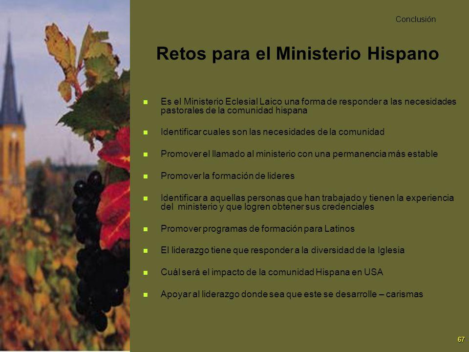 67 Retos para el Ministerio Hispano Es el Ministerio Eclesial Laico una forma de responder a las necesidades pastorales de la comunidad hispana Identi
