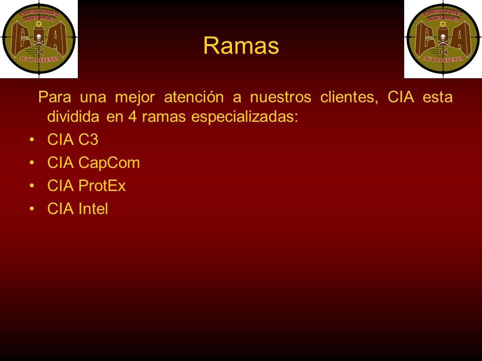 Ramas Para una mejor atención a nuestros clientes, CIA esta dividida en 4 ramas especializadas: CIA C3 CIA CapCom CIA ProtEx CIA Intel