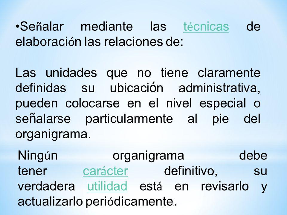 Signos convencionales m á s usados: Los organigramas deben ser org á nicos, articulados, sim é tricos, uniformes y armoniosos.