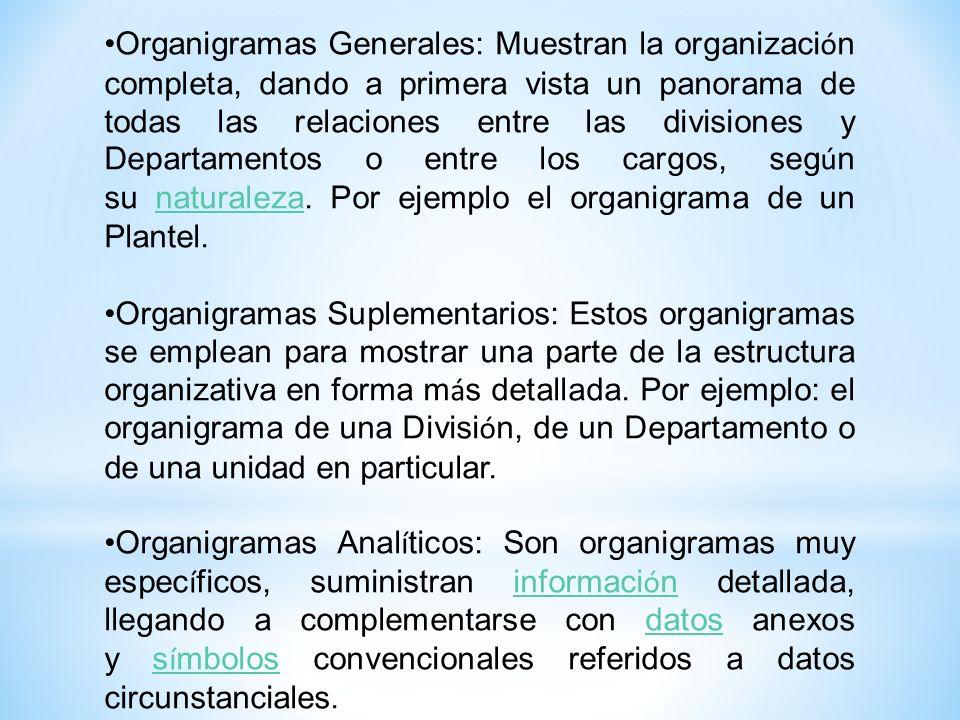 Organigramas Generales: Muestran la organizaci ó n completa, dando a primera vista un panorama de todas las relaciones entre las divisiones y Departam