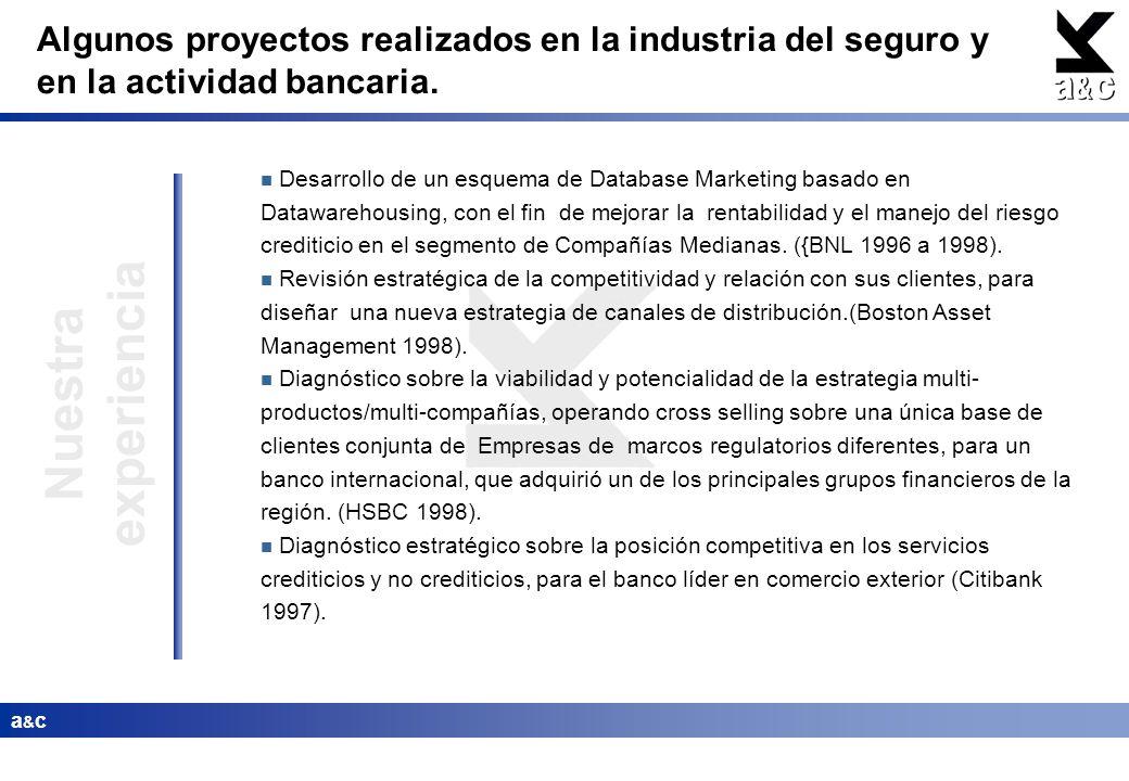 a&ca&c Nuestra experiencia Desarrollo de un esquema de Database Marketing basado en Datawarehousing, con el fin de mejorar la rentabilidad y el manejo
