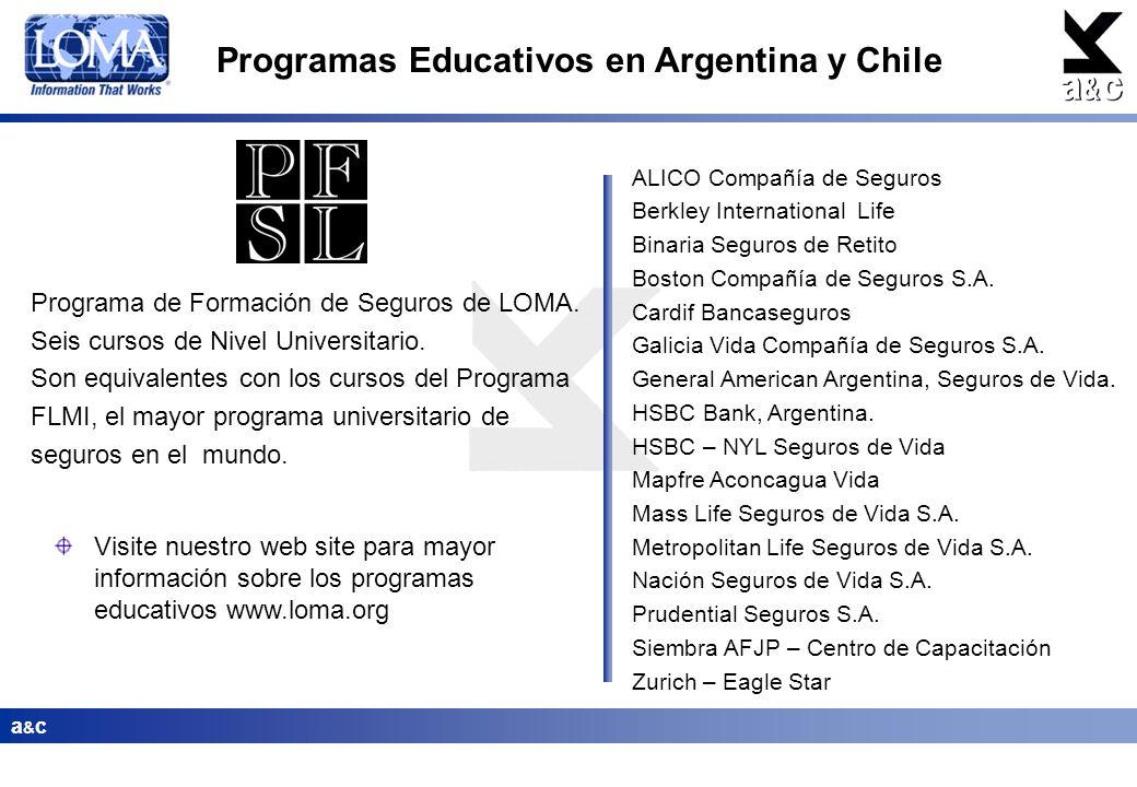a&ca&c Programas Educativos en Argentina y Chile Programa de Formación de Seguros de LOMA. Seis cursos de Nivel Universitario. Son equivalentes con lo