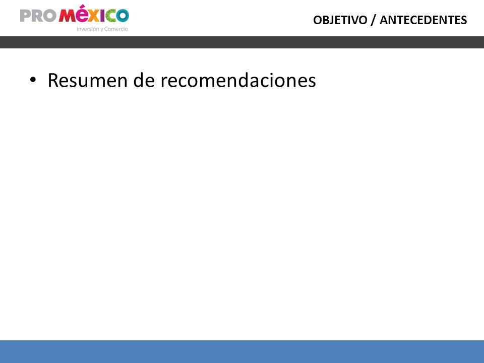 OBJETIVO / ANTECEDENTES Resumen de recomendaciones