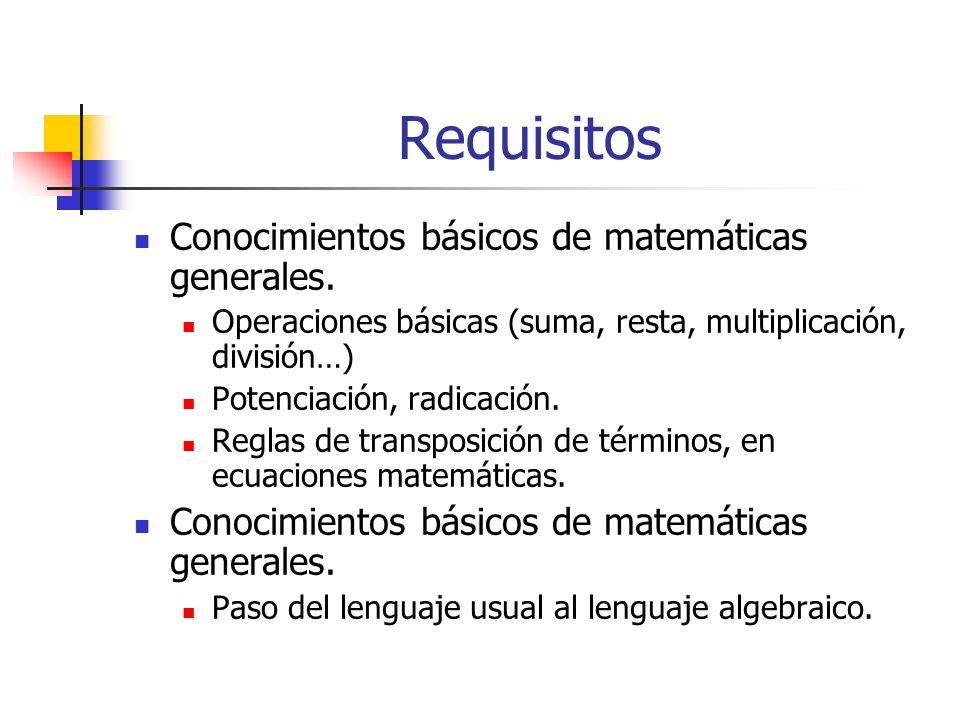 Requisitos Conocimientos básicos de matemáticas generales. Operaciones básicas (suma, resta, multiplicación, división…) Potenciación, radicación. Regl