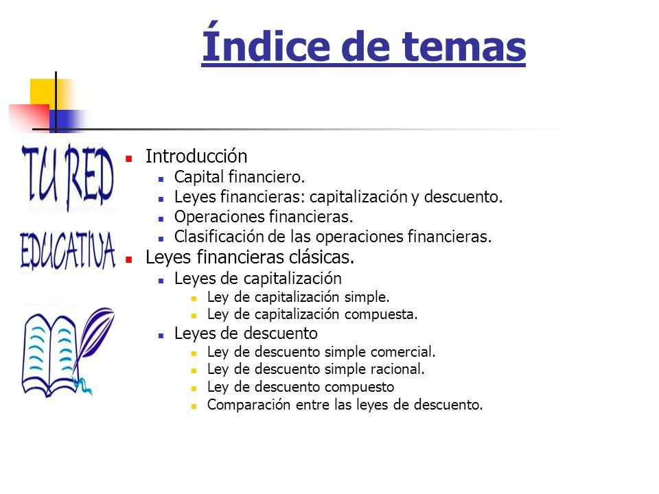Índice de temas Introducción Capital financiero. Leyes financieras: capitalización y descuento. Operaciones financieras. Clasificación de las operacio