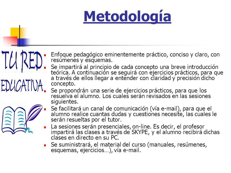 Metodología Enfoque pedagógico eminentemente práctico, conciso y claro, con resúmenes y esquemas. Se impartirá al principio de cada concepto una breve