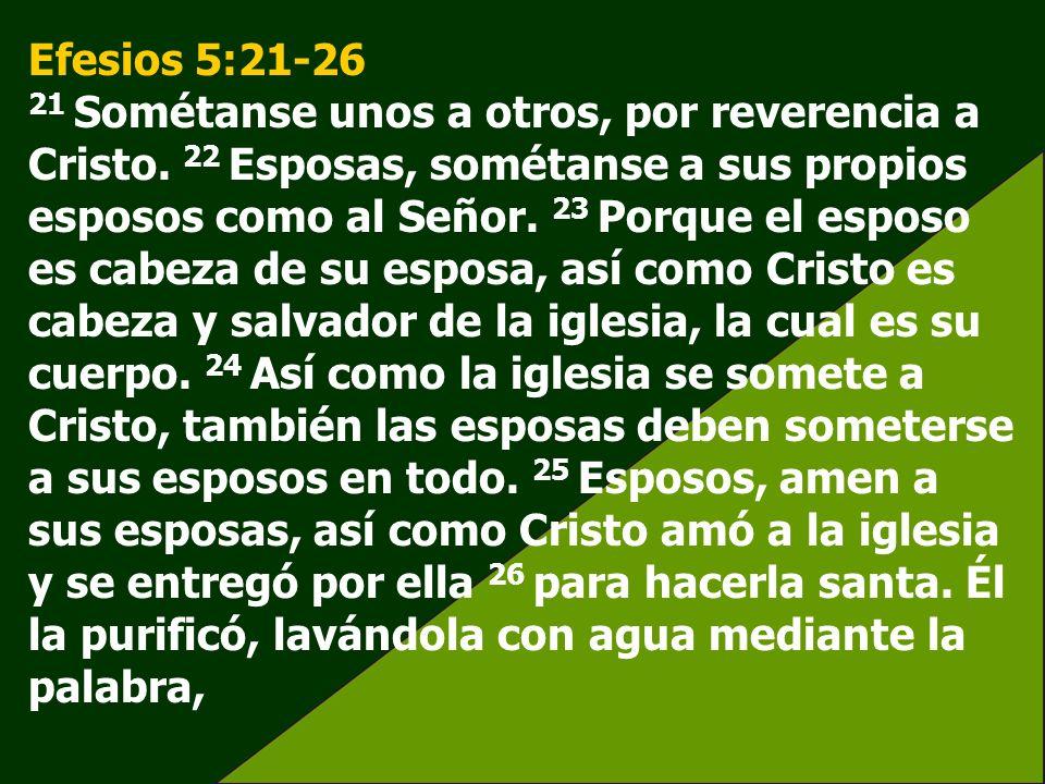Efesios 5:21-26 21 Sométanse unos a otros, por reverencia a Cristo. 22 Esposas, sométanse a sus propios esposos como al Señor. 23 Porque el esposo es