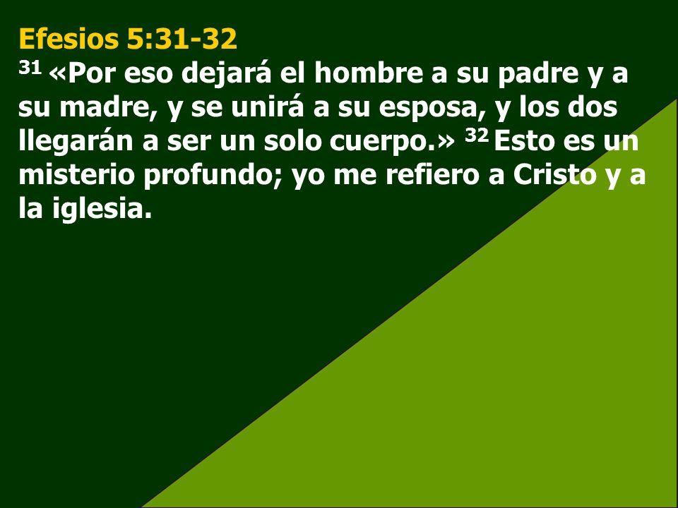 Efesios 5:31-32 31 «Por eso dejará el hombre a su padre y a su madre, y se unirá a su esposa, y los dos llegarán a ser un solo cuerpo.» 32 Esto es un